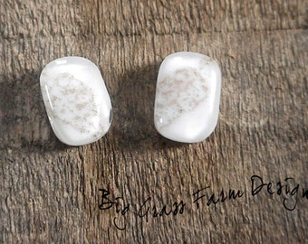 Earring Cabochons, Pair of White Fused Glass with Leaf Accents, Jewelry Supplies for Artists, Wire Wrapping, Bezel Setting, Bead Embroidery