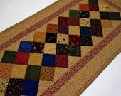 Primitive Quilted Table Runner, Quilted Table Topper, Civil War Reproduction Quilted Table Runner, Country Table Quilt, Patchwork Quilt