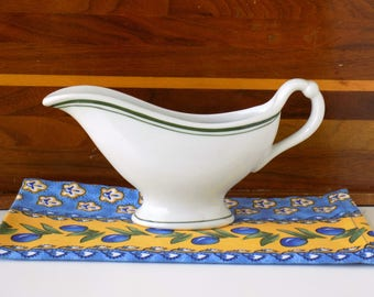 Gravy Boat Sauce Pitcher. McNicol Vitrified China. Vintage Ironstone Restaurant Ware. Green and White. Cottage Farmhouse Kitchen Decor.