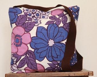 Bag crossbody linen & lace vintage fabric