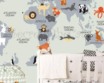 Nursery Wall Decal Wall Decal Nursery World Map Decal - Kids world map wall decal