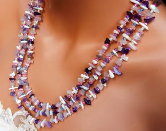 Amethyst, mother of pearl and rose quartz chip necklace, 3 strand amethyst, mother of pearl and rose quartz necklace, gemstone necklace