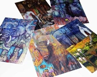 artwork postcard set of 5