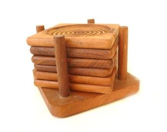 Midcentury Teak Drink Coasters ... Set of 6 Vintage MCM Wood Coasters, Grooved, Mod, S/6 with Holder, Hipster Barware, Coffee Table Savers