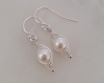 Sterling Silver Swarovski Pearl Wire Wrapped Pea Pod Earrings, Pearl Earrings, Drop earrings, Bridal Jewelry, Pearl Jewelry, Personalised