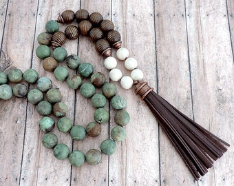 Brown Leather Tassel Necklace - Rustic Earthy Beaded Jewelry - African Green Opal - Long Boho Necklace