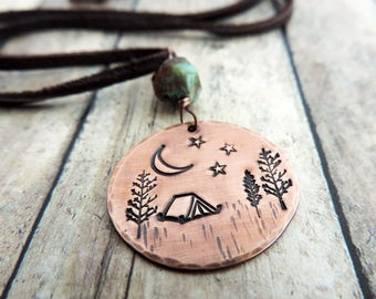 Camping Necklace - Camping Gift - Outdoor Explorer - Adventure Jewelry - Night Sky Campsite - Tent, Trees, Moon, Stars - Wilderness Explorer