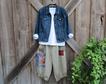 One of a Kind linen pant bloomer knicker britches girlie pantaloon dark natural flax with denim and kantha quilt patches  ready to ship