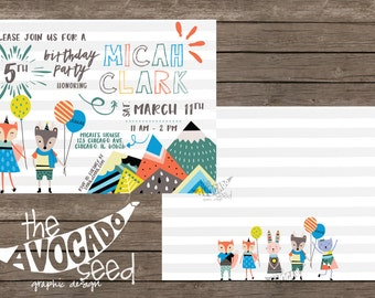Adorable Scandi Critter Boy Birthday Invitations - DIY Printing or Professional Prints