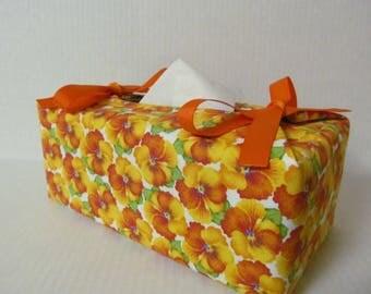 Tissue Box Cover/Orange Pansy