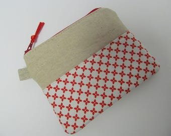 "Zipper Pouch/4""x5""/Linen x Red Flower"