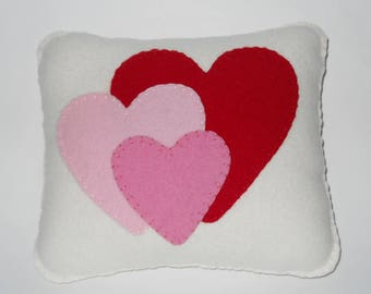 Heart Pillow - Small Throw Pillow - Red and Pink Accent Pillow - Soft Wool Novelty Valentine