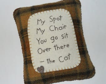 Funny Cat Pillow, Cat Bed Accessory, Cat Poem, Pet Lover Gift, Brown Throw Pillow, My Spot My Chair Cat Pillow
