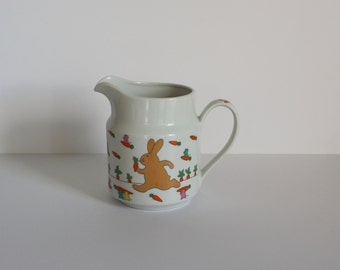 Cute Vintage Pitcher Rabbits, Mice and Carrots Signed Tsune Japan