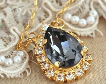 Gray Crystal Necklace,Dark Gray Swarovski necklace, Bridal Gray necklace, bridesmaids jewelry,Swarovski Black Diamond Gold Bridal Necklace