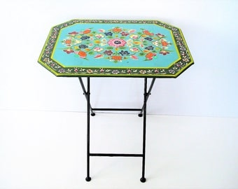 Vintage tray table/hand painted floral design folding table/ blue metal side table/boho decor