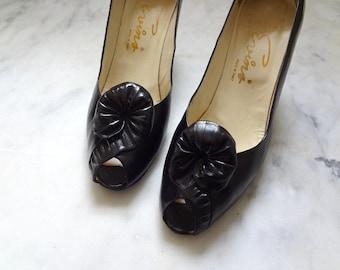 1960s Black Peep Toe Pumps - vintage leather high heel dress shoes size 7.5 AA