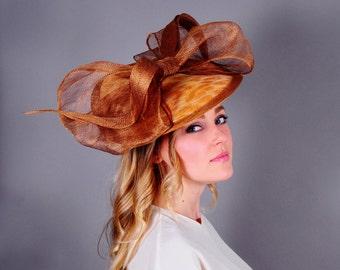 Brown Kentucky Derby Hat, Brown Fascinator, Royal Ascot