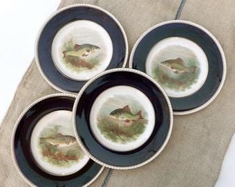 4 Fish Plates Cobalt Rim Fondeville Ambassador Ware Vintage Dinnerware