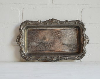 Silver Dish, Silver Tray, Rectangle Tray, Rectangle Dish, Vintage Silver, Vanity Tray, Bathroom Tray, Vintage Silverplate, Soap Dish,