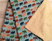 SALE! Ready to Ship! Elephant Baby Blanket - Baby Boy Blanket-Chenille Baby Blanket