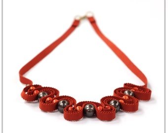 Rust red beaded ribbon necklace
