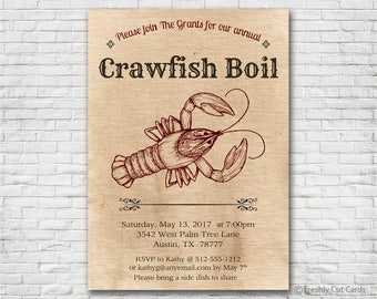 Crawfish Boil Invitation - Printable or Printed (w/ FREE Envelopes)