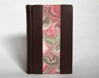 Hand-Bound Blank Notebook with Split Board Binding, Brown Leather and Decorative Marbled Paper (2017), Item No. 250