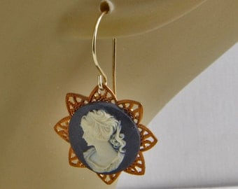 Handmade Brass Filigree Star And Resin Black And White Cameo Earrings Gold Brass Hooks Oscarcrow