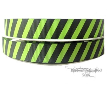 100 Yards 7/8 Inch Lime/Black Diagonal Stripe Grosgrain Ribbon