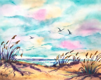 Beach Watercolor, Watercolor Seagulls, Pink and Blue, Sand, Ocean Art, Ocean Waves, Pastel Sky, Clouds,Martha Kisling, Art With Heart