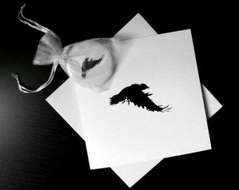 Crow gift set, crow card, crow mirror, makeup mirror, purse mirror, stocking filler, wedding favour, party favour, gothic mirror,  bird gift