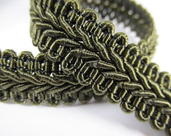 Olive Green 1/2 inch or 13mm Romanesque Flat Gimp Trim sold by the yard