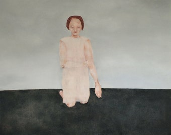 """Portrait of woman/ figure of girl portrait wall art/ contemporary woman figure/ pale pink dark gray and blue """"Shy"""""""