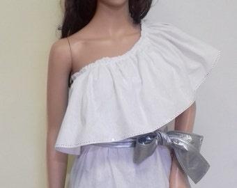 White lopsided women's tunic