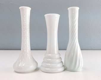 Vintage Milk Glass Vase Collection, Set of Three