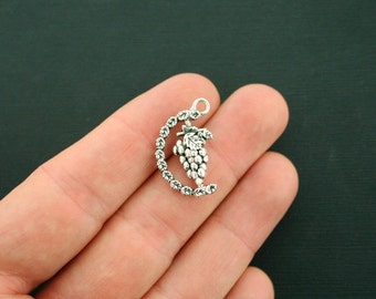 4 Grapes Charms Antique Silver Tone Rotating Charms 3D Detail - Really Spins! - SC6389
