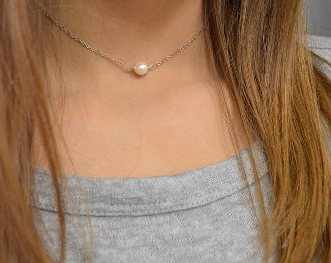 Pearl Choker Necklace, June Birthstone, Choker or Long Necklace, Sterling Silver, 14k or Rose Gold Filled, Dainty Layering Pearl Necklace