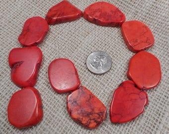 Large Red Magnesite Slab Beads, 10 Gemstone Bead Pendents  M16