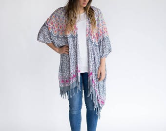 Free Spirit Boho Kimono  <Grey, White, Pink, Orange, Green Mandala Design> Gypsy Fashion, Bohemian Swag, Jacket Poncho, Womens Wear