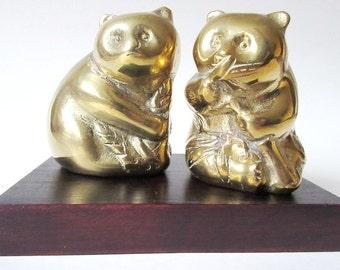 Brass Panda Bear Figurine Pair on Black Display Base, Vintage Hong Kong 3 piece