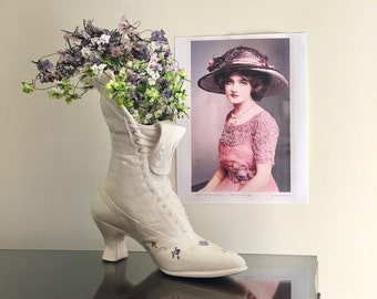Vintage Victorian Ladies Boot Vase Or Planter - Steampunk Style Home Or Shop Decor - Life Size Womens Vintage Shoe Vessel For Display