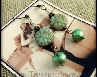 Olivene Czech Crystal Hanging Flower Earrings, Olivene Czech Art Glass earrings, Downton Abbey Earrings, Romantic BoHo Floral Earrings