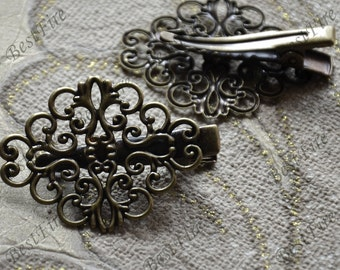 6 pcs of New style Antique Bronze flower bobby pins,filigree butterfly bobby pins,findings