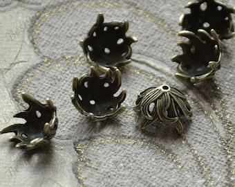 10pcs of Big Bead Caps flower Shape Antique bronze Tone,beadcap findings,beads,findings beads