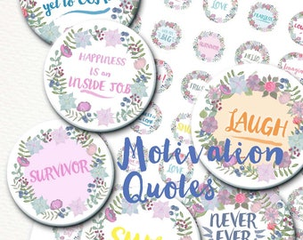 1 inch bottle caps circles Motivation Quotes Digital Collage Sheet for jewelry, tags, embelishments, magnets, cards, bottlecaps. Florals.