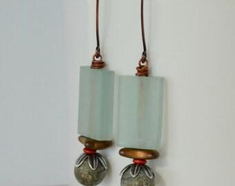 Crusty Lampwork Earrings, Pale Blue Earrings, Contemporary Earrings, Playful Fun Earrings, Mod Earrings, Unusual Earrings
