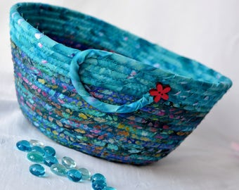 Turquoise Bread Basket, Handmade Napkin Holder, Hand Coiled Knitting Basket, Aqua Blue Fabric Basket, Modern Chic Fabric Bowl