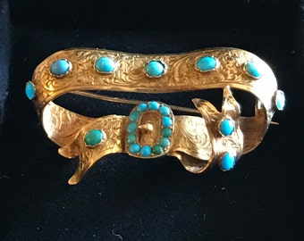 Victorian Turquoise Gold Brooch, Antique Turquoise Bow Brooch, Victorian Jewelry