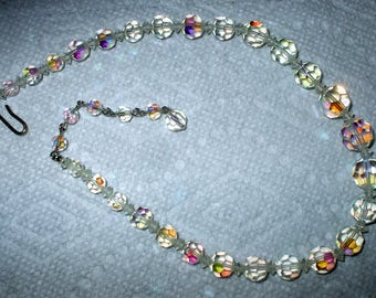 Crystal Costume Necklace Aurora Borealis Iridescent Sparkle Vintage Christmas Holiday Sparkle